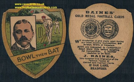 1920 Baines cricket card Bowl Then Bat with a portrait of John Baines